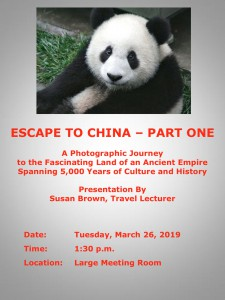 Armchair Travel Presentation - Escape to China Part One @ MTG