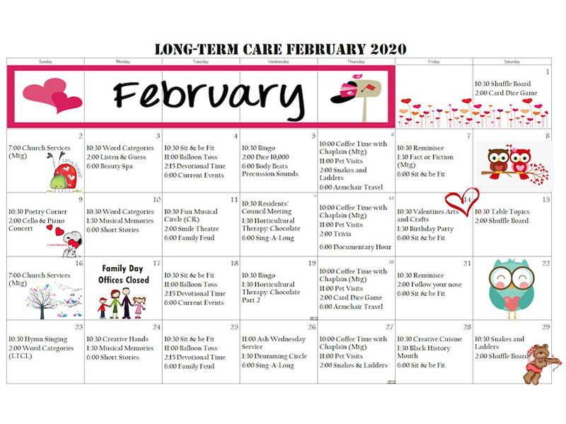 Long Term Care Calendar