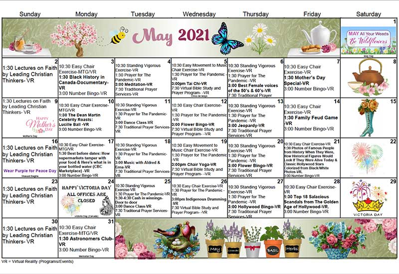 Seniors Active Living Centres 2021 May virtual programs calendar
